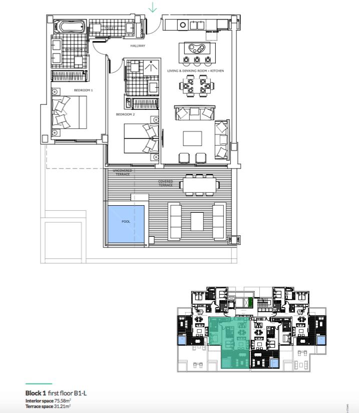 santa barbara heights mijas costa strand zeezicht resort concierge nieuwbouw te koop grondplan verdieping tussen