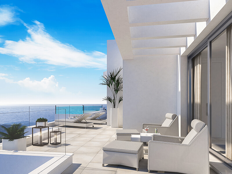 santa barbara heights mijas costa strand zeezicht resort concierge nieuwbouw te koop plonsbad