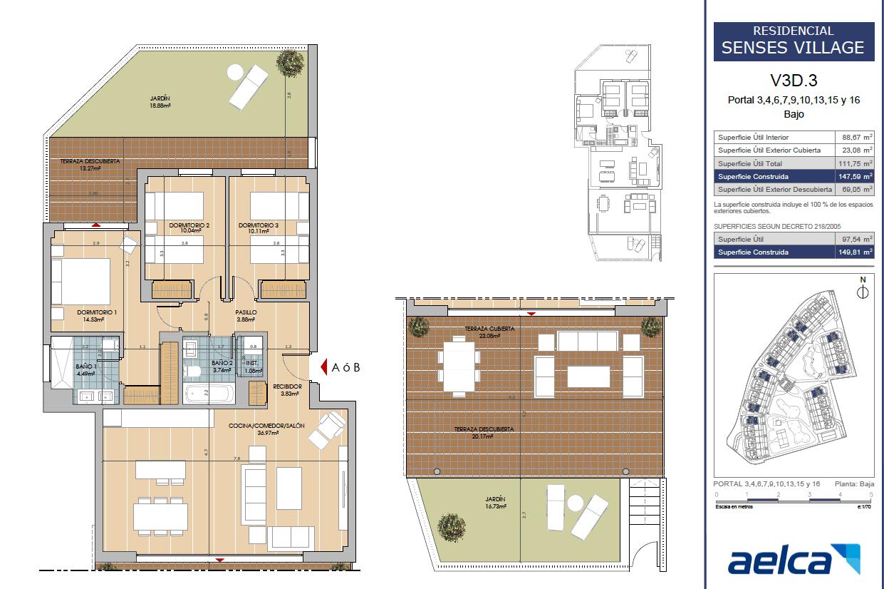 senses cancelada estepona marbella new golden mile off plan nieuwbouw kopen appartementen penthouses grondplan 3 slaapkamers gelijkvloers