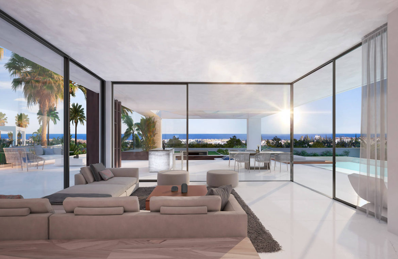 velvet cancelada villa te koop modern zeezicht nieuwbouw estepona new golden mile marbella salon