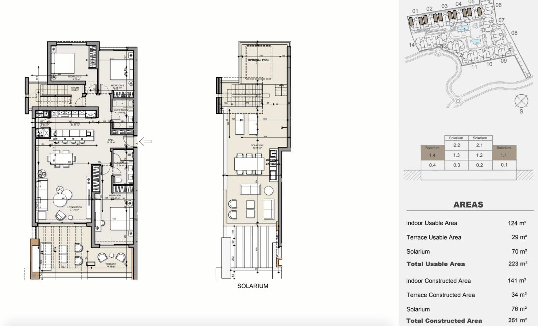 ayana estepona new golden mile resort nieuwbouw modern appartement penthouse te koop wandelafstand zee grondplan duplex 3 slaapkamers