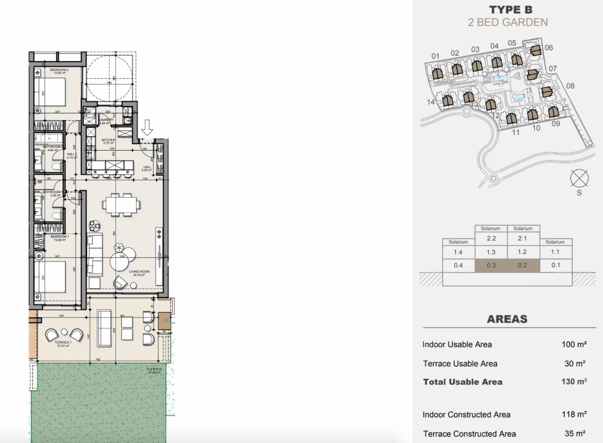 ayana estepona new golden mile resort nieuwbouw modern appartement penthouse te koop wandelafstand zee grondplan gelijkvloers 2 slaapkamers