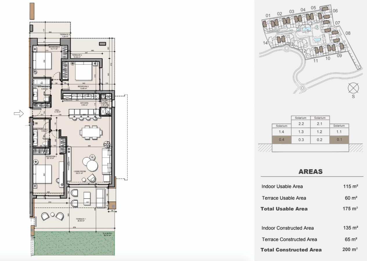 ayana estepona new golden mile resort nieuwbouw modern appartement penthouse te koop wandelafstand zee grondplan gelijkvloers 3 slaapkamers