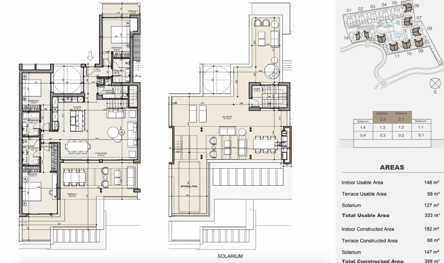 ayana estepona new golden mile resort nieuwbouw modern appartement penthouse te koop wandelafstand zee grondplan penthouse 3 slaapkamers