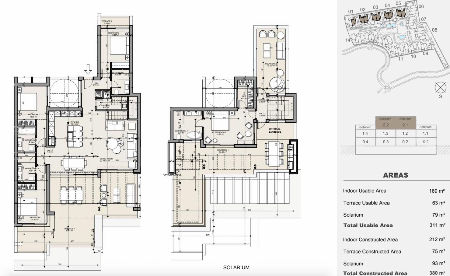 ayana estepona new golden mile resort nieuwbouw modern appartement penthouse te koop wandelafstand zee grondplan penthouse 4 slaapkamers