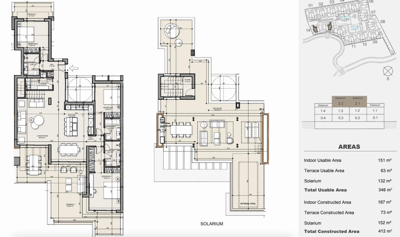 ayana estepona new golden mile resort nieuwbouw modern appartement penthouse te koop wandelafstand zee grondplan penthouse solarium 3 slaapkamers