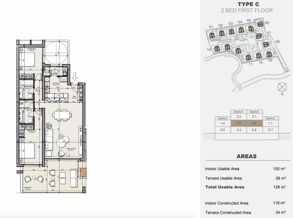 ayana estepona new golden mile resort nieuwbouw modern appartement penthouse te koop wandelafstand zee grondplan verdieping 2 slaapkamers