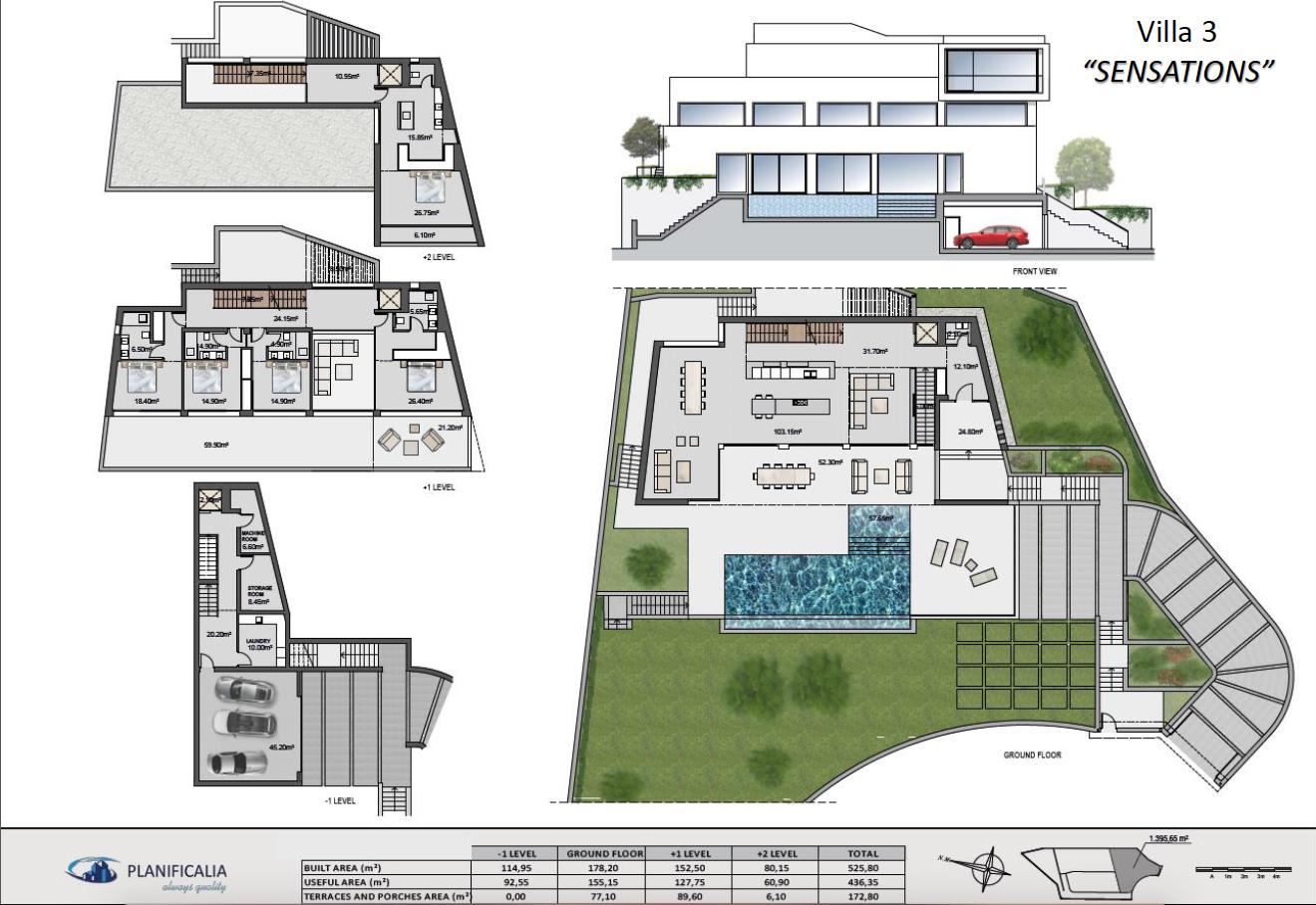 lux alcuzcuz benahavis la reserva moderne nieuwbouw villa te koop zeezicht privacy nieuw design zwembad sensations grondplan