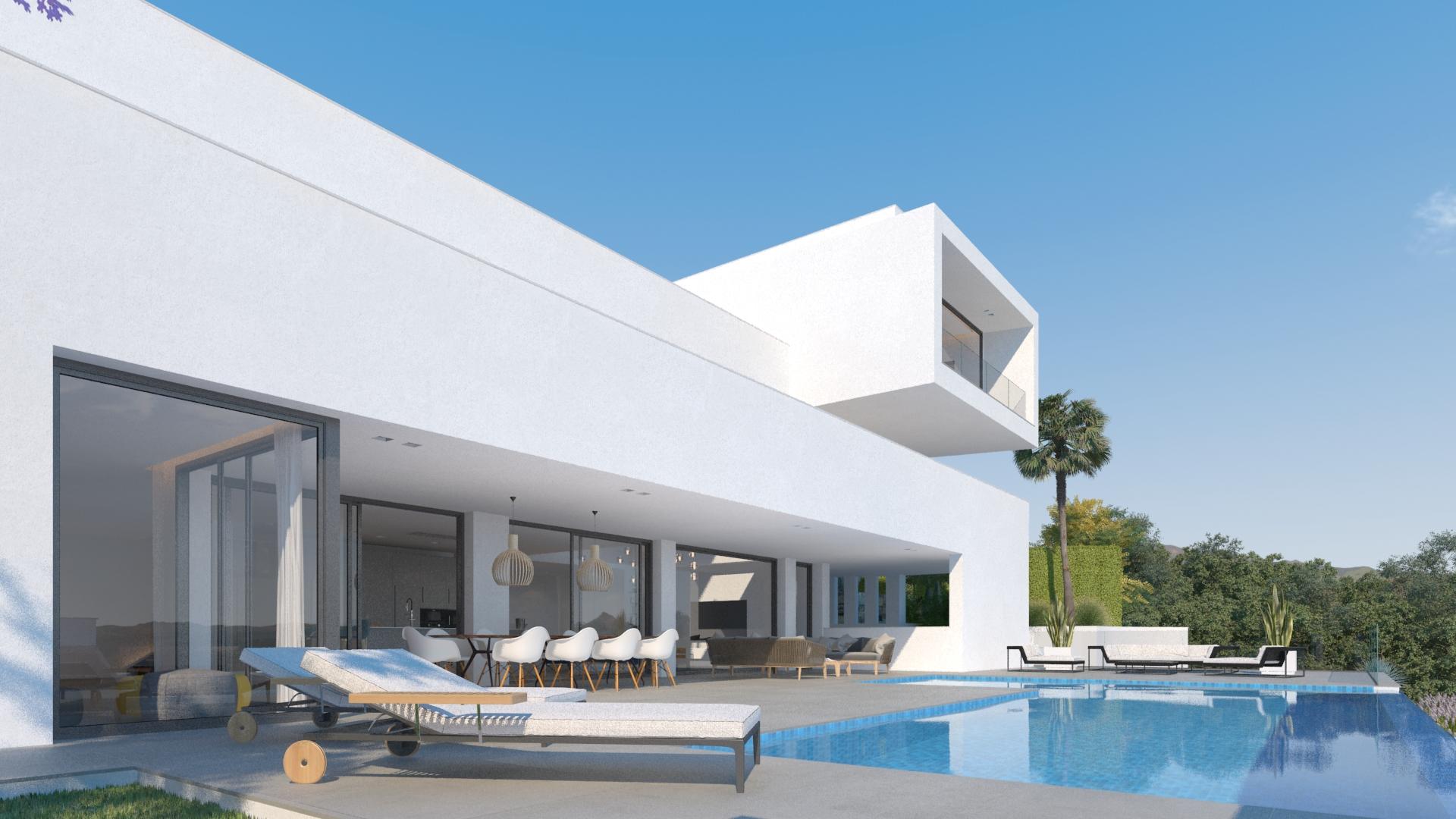 lux alcuzcuz benahavis la reserva moderne nieuwbouw villa te koop zeezicht privacy nieuw design zwembad sensations terras