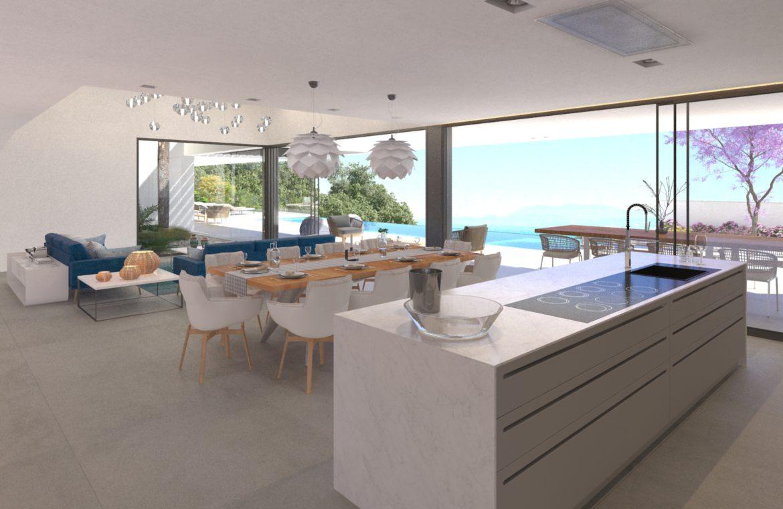 lux alcuzcuz benahavis la reserva moderne nieuwbouw villa te koop zeezicht privacy nieuw design zwembad serenity elegance keuken