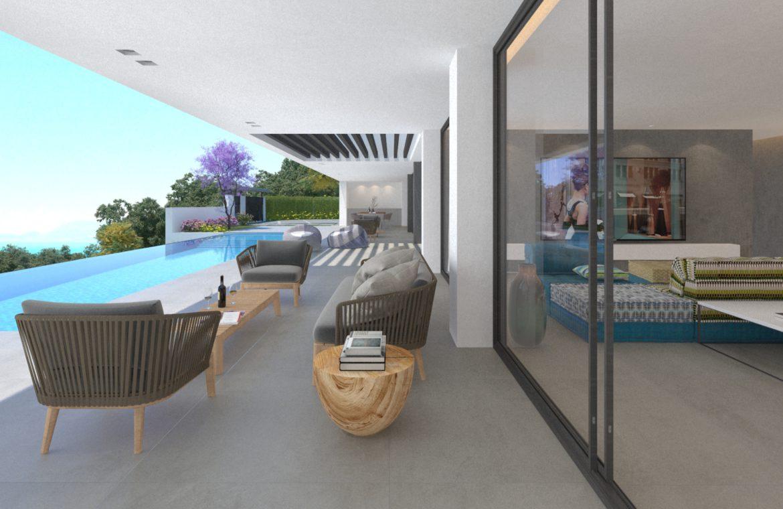lux alcuzcuz benahavis la reserva moderne nieuwbouw villa te koop zeezicht privacy nieuw design zwembad serenity elegance terras