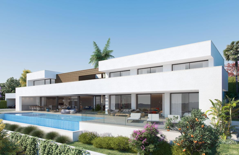lux alcuzcuz benahavis la reserva moderne nieuwbouw villa te koop zeezicht privacy nieuw design zwembad serenity ontwerp