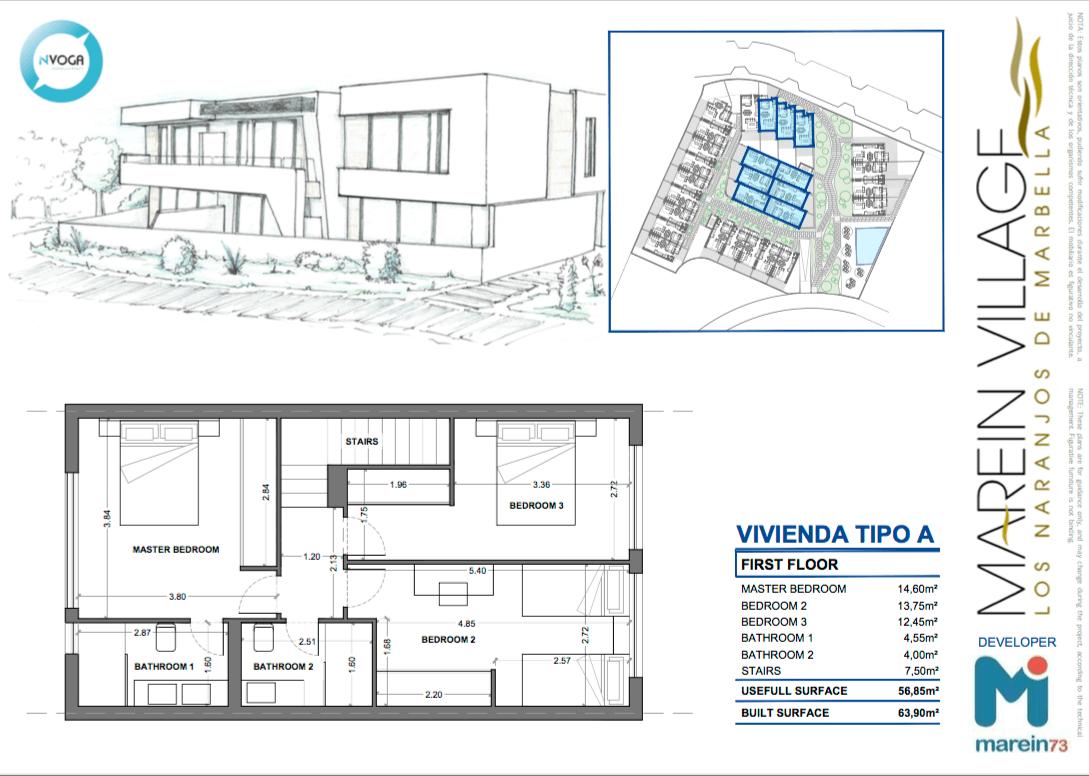 marein village nvoga geschakelde woning te koop townhouse nueva andalucia nieuwbouw puerto banus grondplan type a