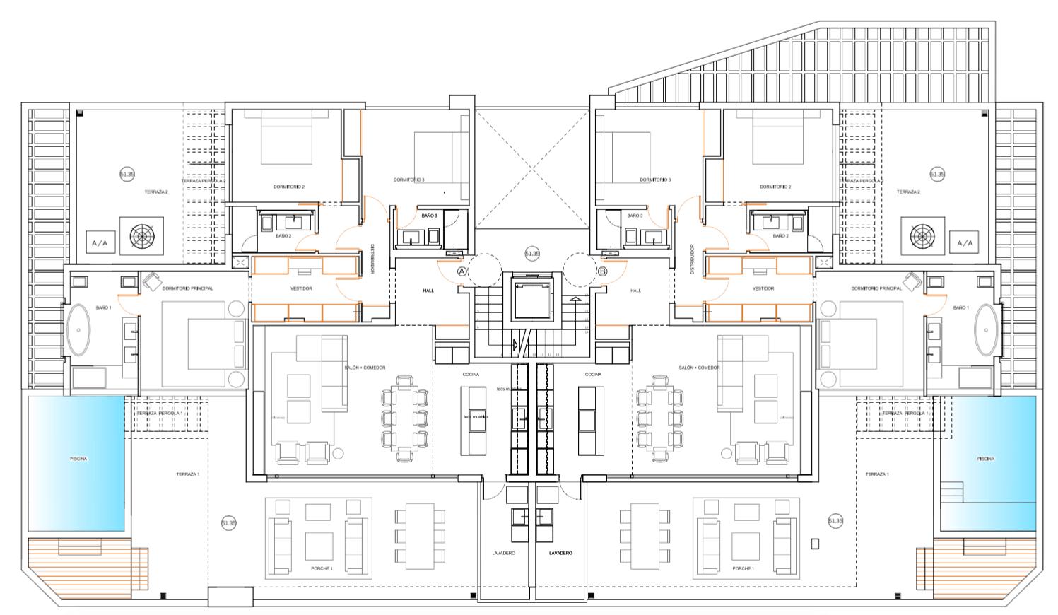 senorio de vasari marbella golden mile exclusief appartement penthouse kopen nieuwbouw modern design grondplan tweede verdieping