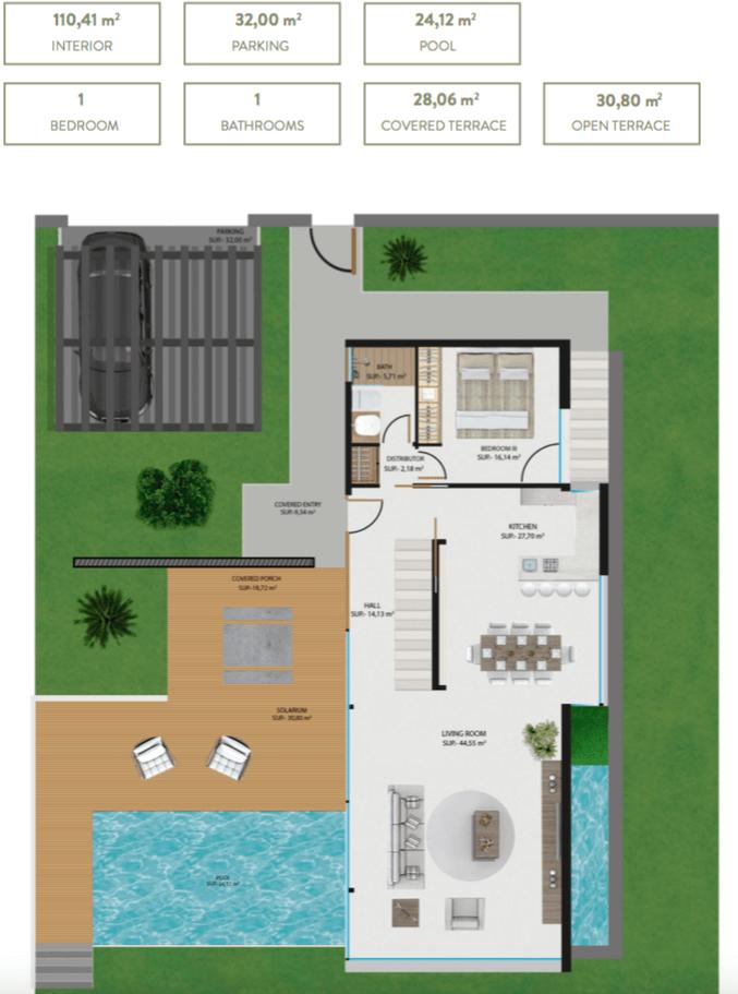 the sanctuary villas el campanario new golden mile estepona nieuwbouw te koop vrijstaand huis grondplan gelijkvloers