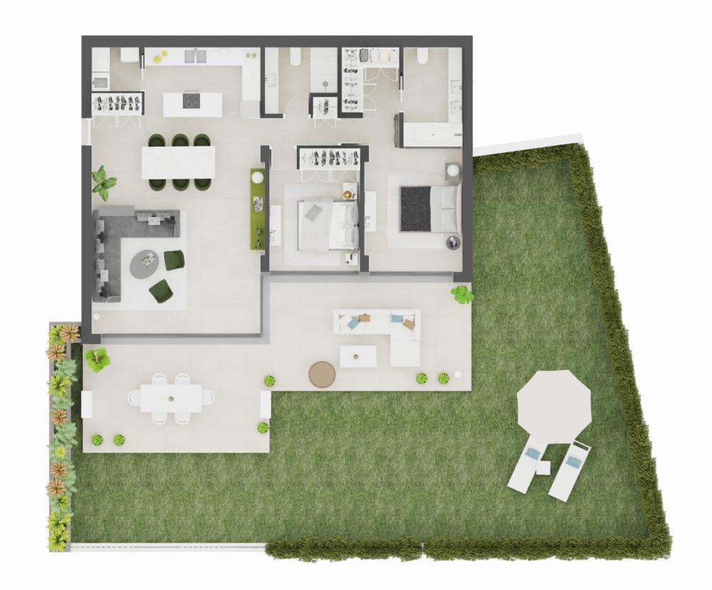 aqualina residences collection benahavis marbella costa del sol appartement penthouse te koop grondplan 2 slaapkamer