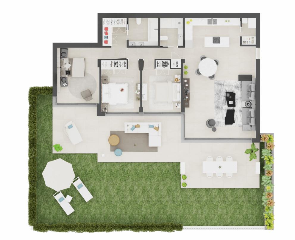 aqualina residences collection benahavis marbella costa del sol appartement penthouse te koop grondplan 3 slaapkamer