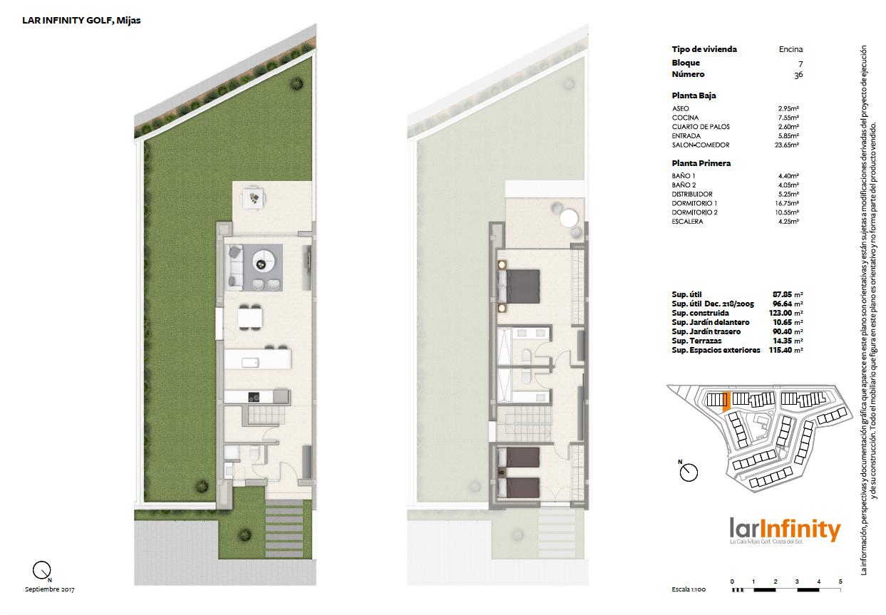 lar infinity mijas la cala golf huis rijhuis kopen nieuwbouw golfzicht 2 slaapkamers grondplan halfopen