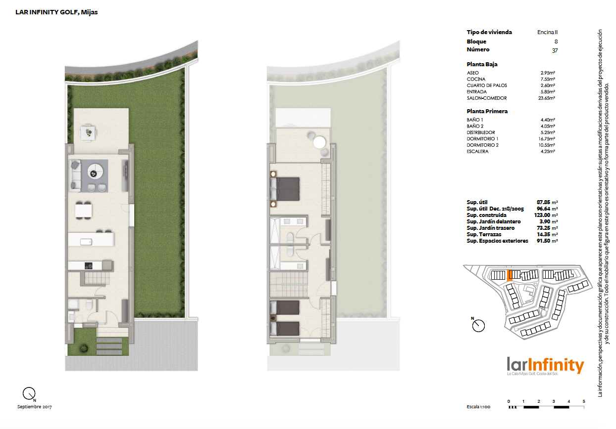 lar infinity mijas la cala golf huis rijhuis kopen nieuwbouw golfzicht 2 slaapkamers grondplan