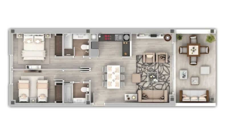 oceana views invest spain bromley cancelada zeezicht appartementen penthouses zeezicht golf wandelafstand te koop grondplan 2 slaapkamer