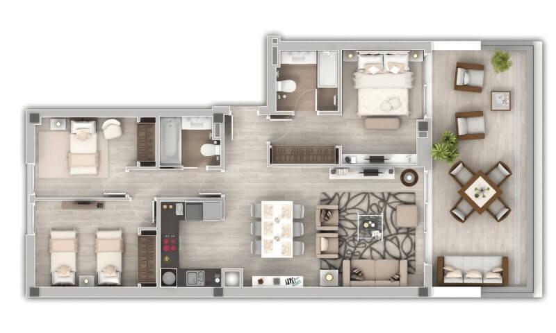 oceana views invest spain bromley cancelada zeezicht appartementen penthouses zeezicht golf wandelafstand te koop grondplan 3 slaapkamer