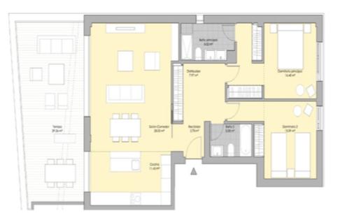 valley homes valle romano golf resort estepona costa del sol modern nieuwbouw appartement penthouse kopen zeezicht grondplan 2 slaapkamers