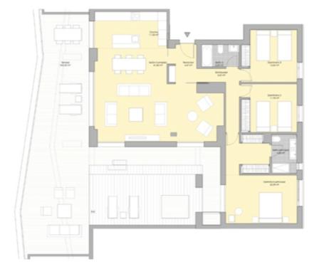 valley homes valle romano golf resort estepona costa del sol modern nieuwbouw appartement penthouse kopen zeezicht grondplan 3 slaapkamers