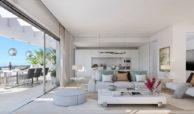 valley homes valle romano golf resort estepona costa del sol modern nieuwbouw appartement penthouse kopen zeezicht salon
