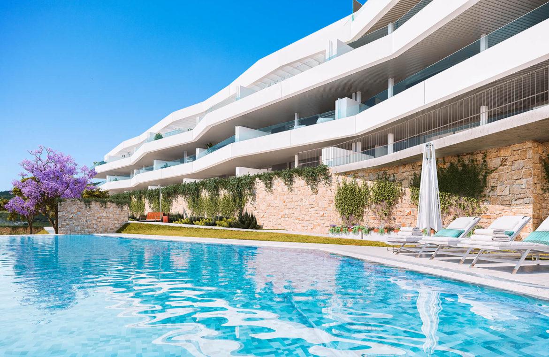 valley homes valle romano golf resort estepona costa del sol modern nieuwbouw appartement penthouse kopen zeezicht tuinen