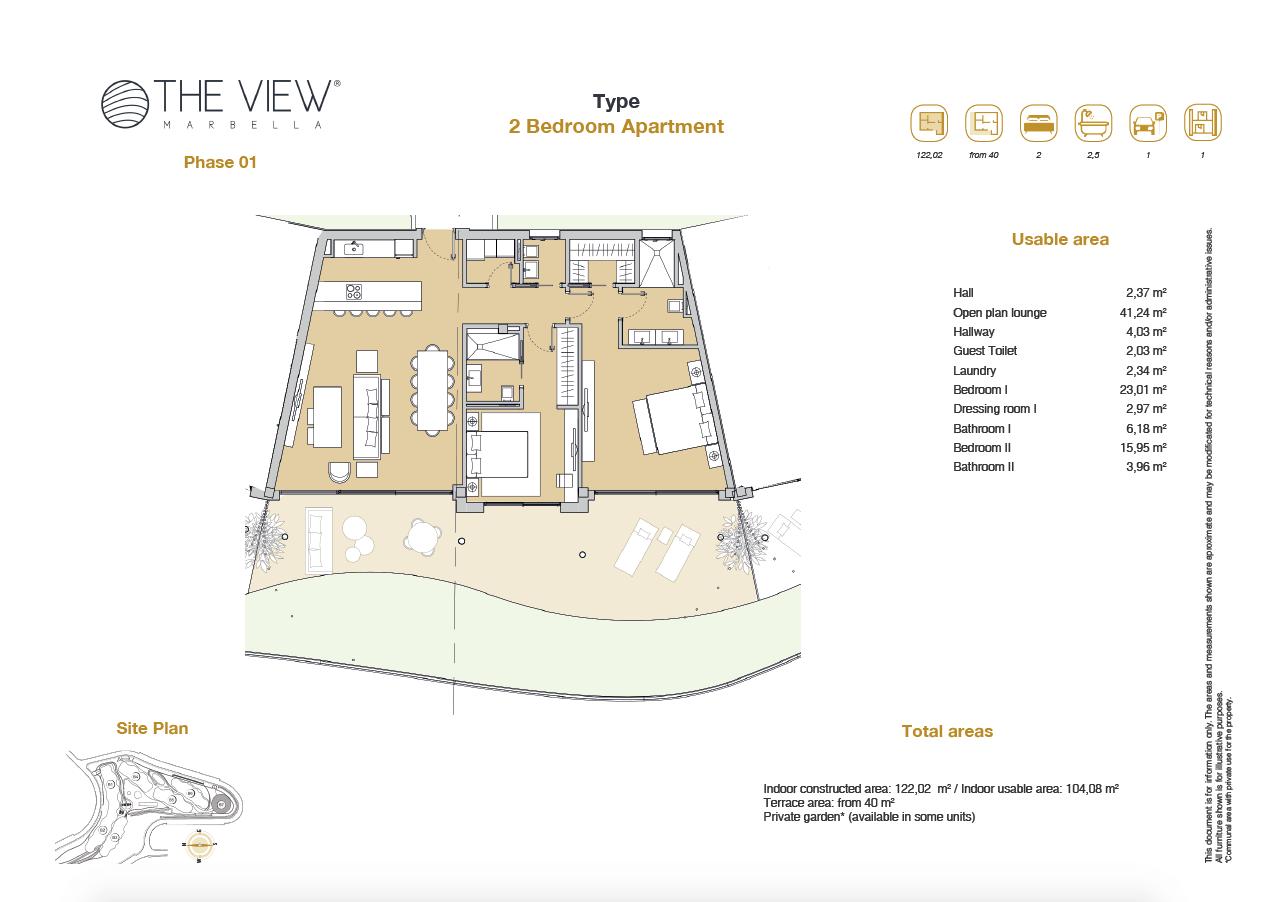 the view marbella zeezicht panoramisch zicht futuristisch modern nieuwbouw benahavis luxe exclusief concierge appartement golf grondplan 2 slaapkamers