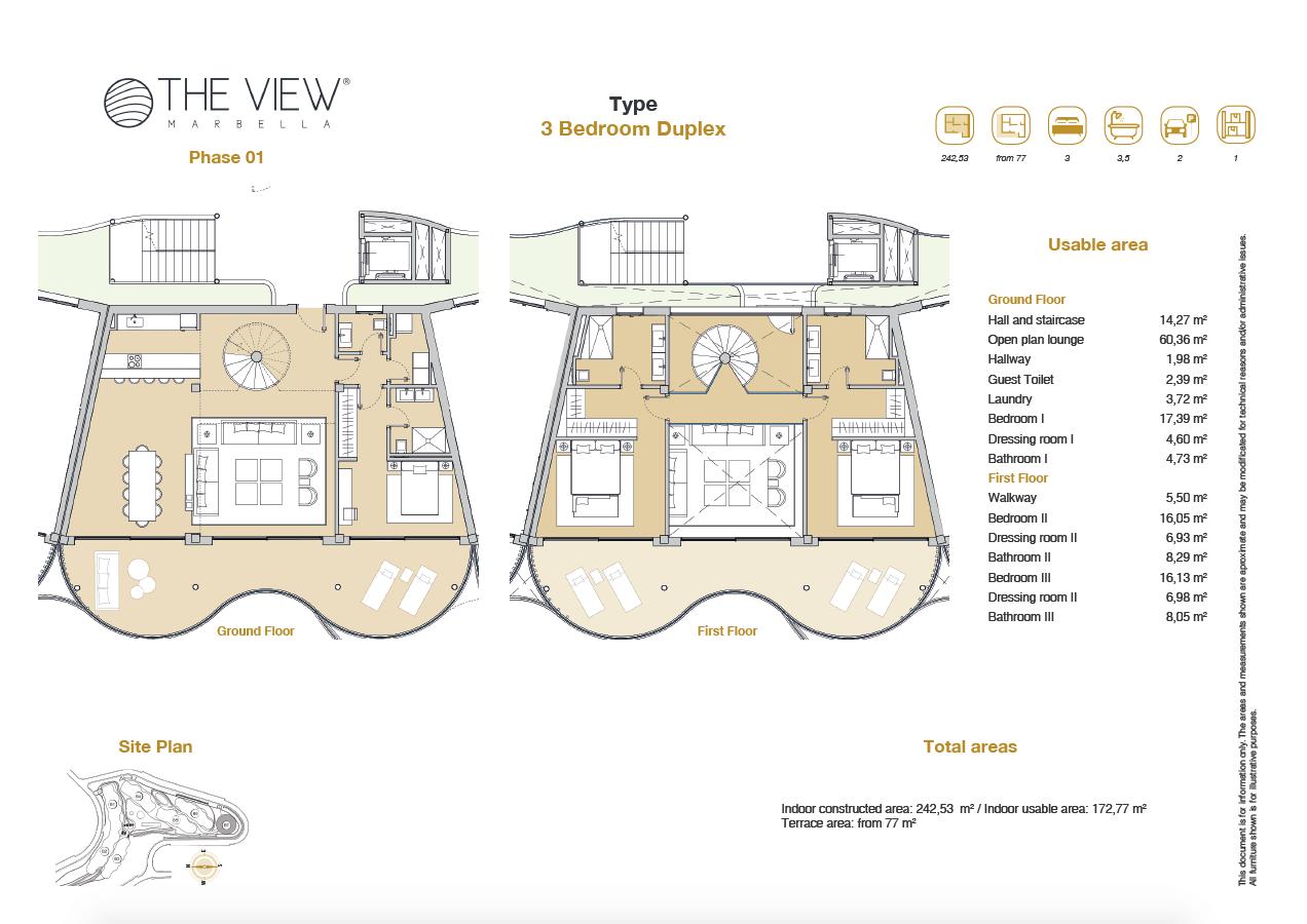 the view marbella zeezicht panoramisch zicht futuristisch modern nieuwbouw benahavis luxe exclusief concierge appartement golf grondplan 3 slaapkamers duplex