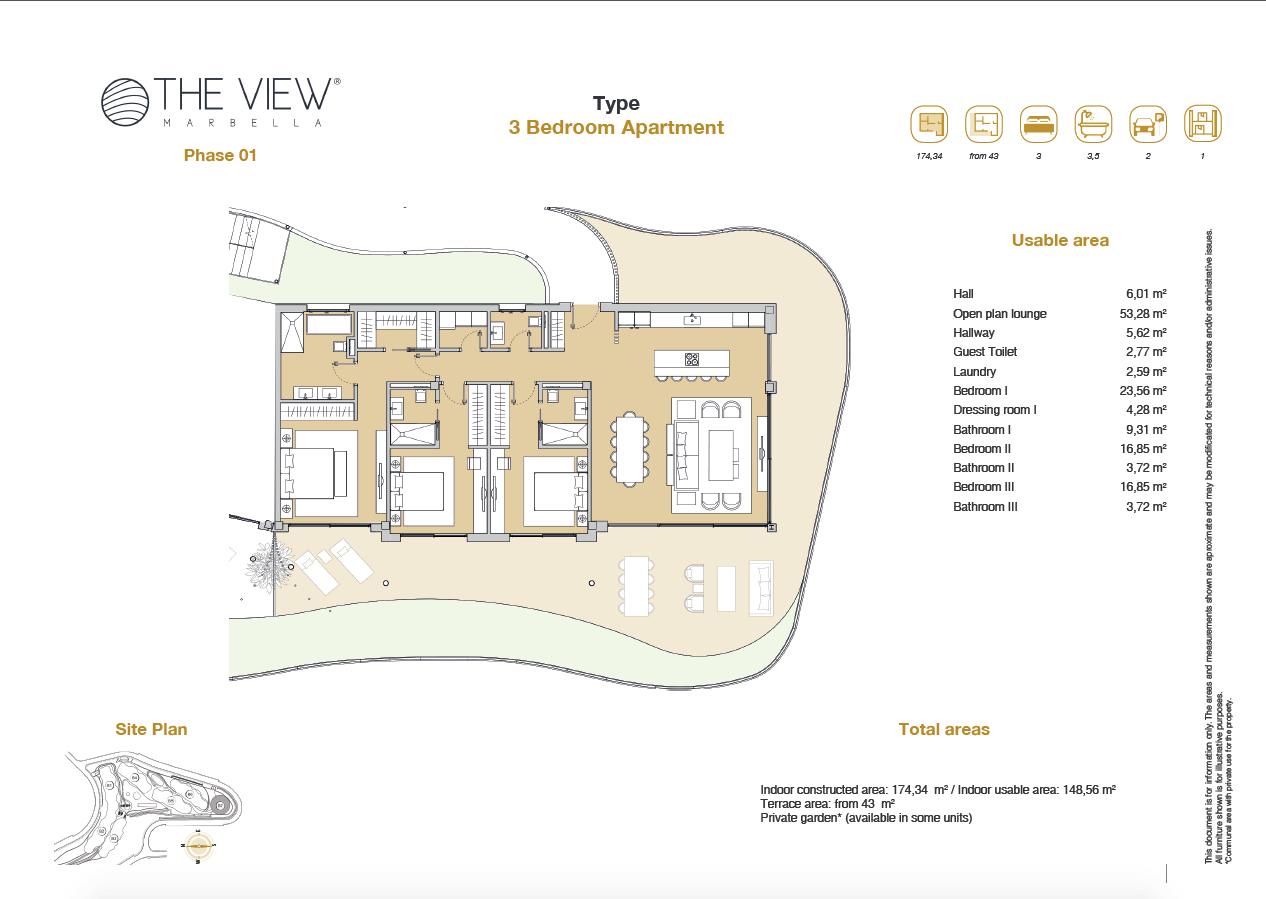 the view marbella zeezicht panoramisch zicht futuristisch modern nieuwbouw benahavis luxe exclusief concierge appartement golf grondplan 3 slaapkamers