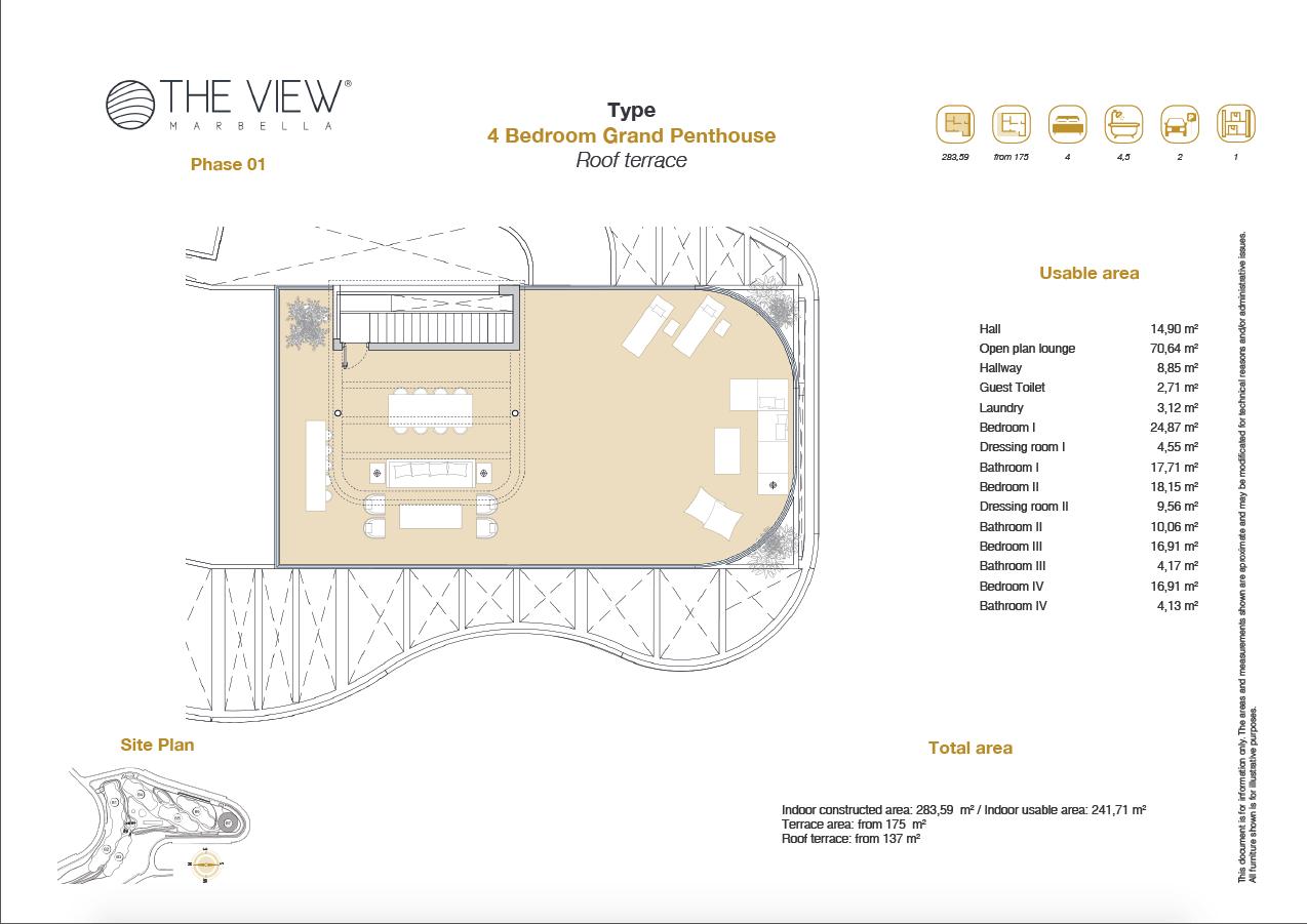the view marbella zeezicht panoramisch zicht futuristisch modern nieuwbouw benahavis luxe exclusief concierge appartement golf grondplan 4 slaapkamers penthouse grand solarium