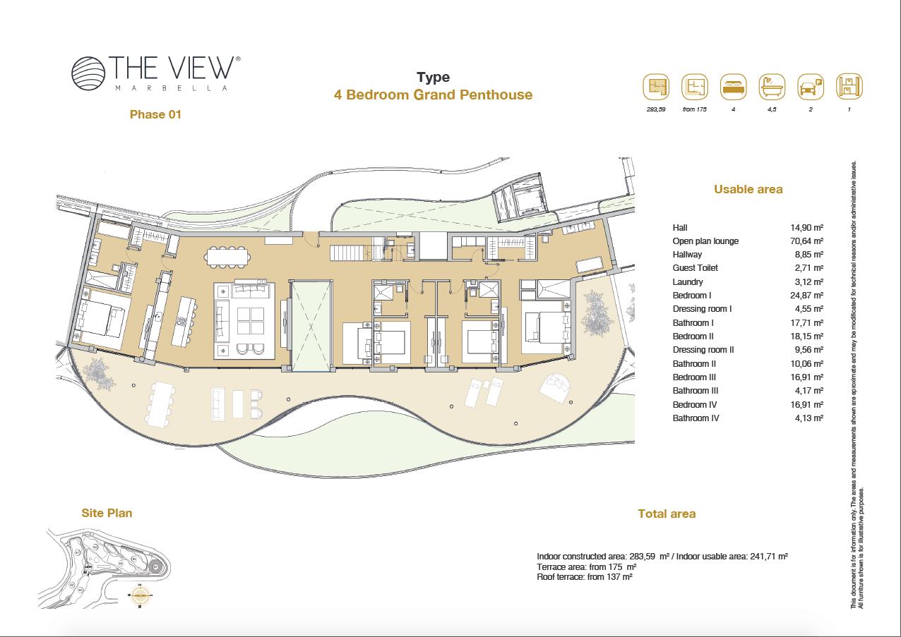 the view marbella zeezicht panoramisch zicht futuristisch modern nieuwbouw benahavis luxe exclusief concierge appartement golf grondplan 4 slaapkamers penthouse grand