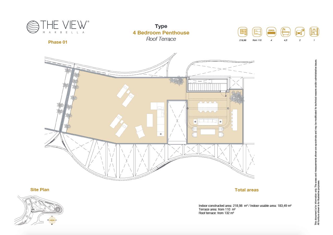 the view marbella zeezicht panoramisch zicht futuristisch modern nieuwbouw benahavis luxe exclusief concierge appartement golf grondplan 4 slaapkamers penthouse solarium