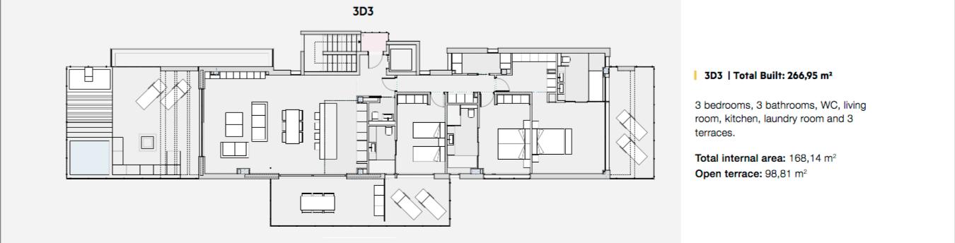 phoenix resort la cala golf kleinschalig luxe exclusief appartement penthouse kopen nieuwbouw modern spa gym concierge omheind grondplan penthouse