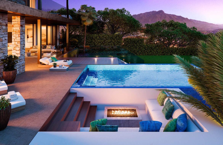 be lagom moderne villa kopen marbella benahavis zeezicht nieuwbouw fire pit