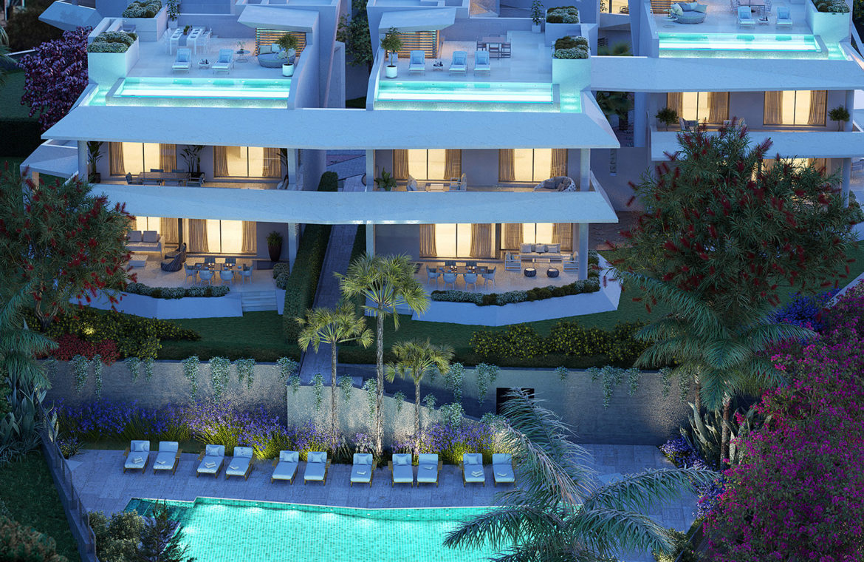 celeste marbella nueva andalucia costa del sol spanje nieuwbouw te koop appartement penthouse puerto banus wandelafstand hero villa tuin