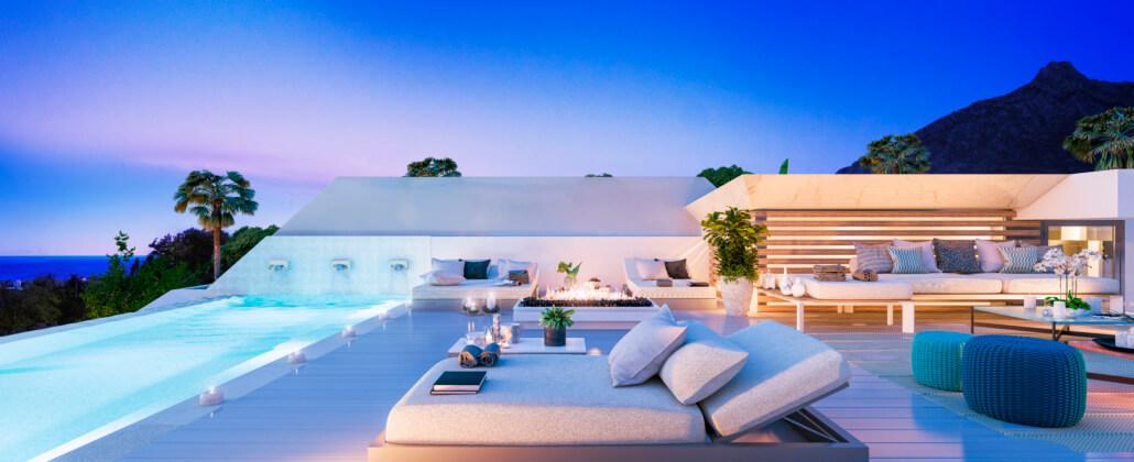 celeste marbella nueva andalucia costa del sol spanje nieuwbouw te koop appartement penthouse puerto banus wandelafstand villa dakterras