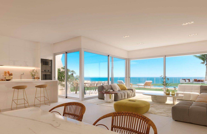 eden mijas te koop townhouses zeezicht wandelafstand strand living keuken