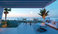 eden mijas te koop townhouses zeezicht wandelafstand strand terras avond