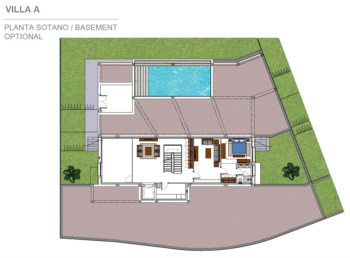 light blue villa kopen costa del sol marbella estepona nieuwbouw modern grondplan villa A kelder optioneel