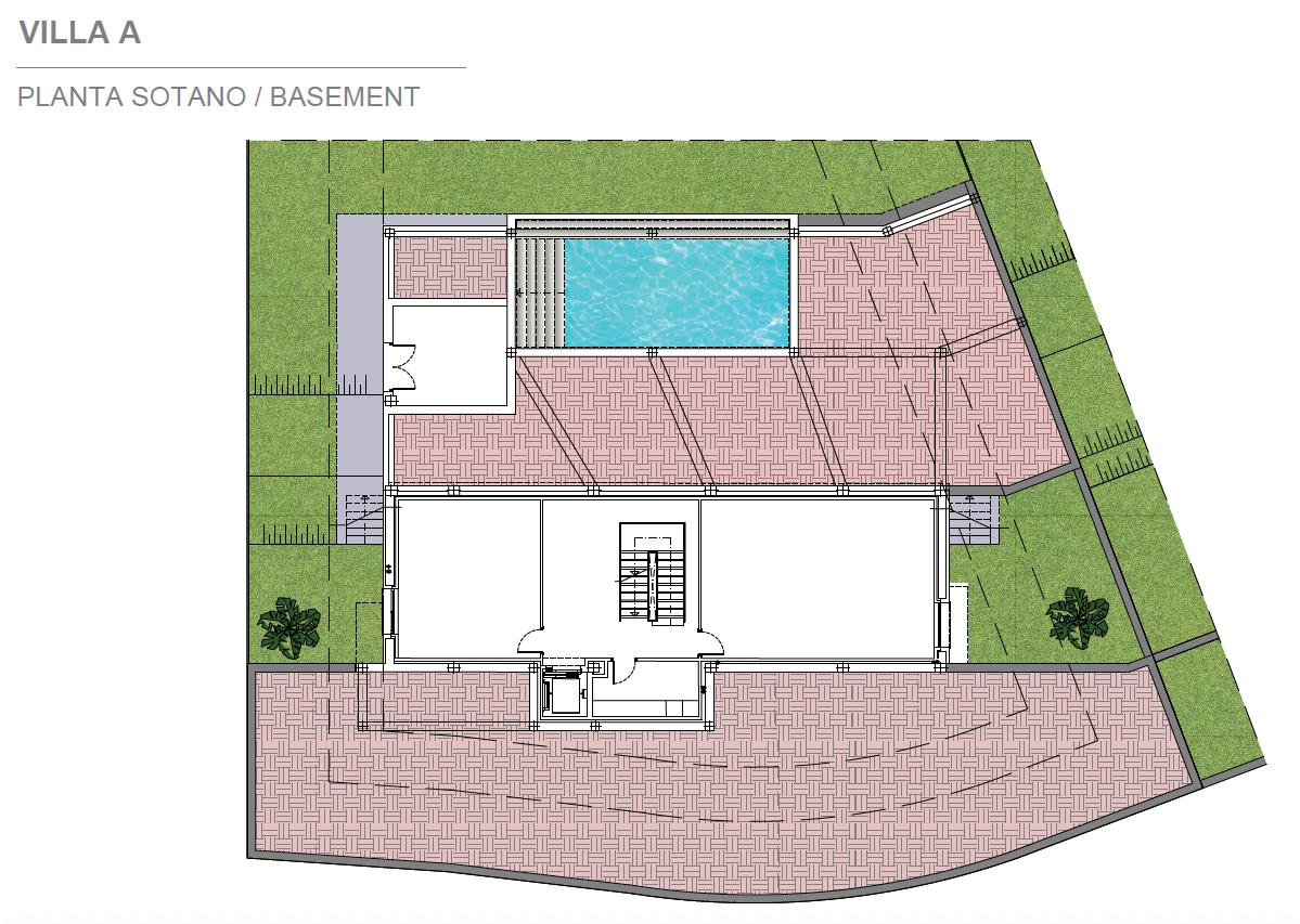 light blue villa kopen costa del sol marbella estepona nieuwbouw modern grondplan villa A kelder
