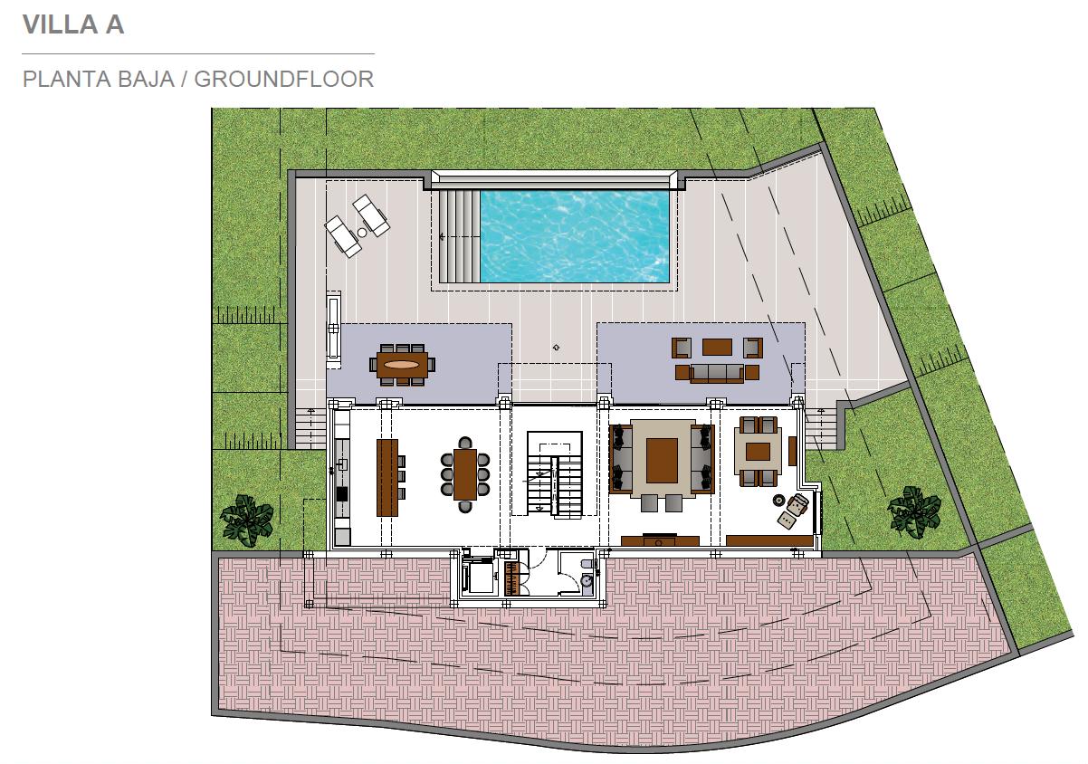 light blue villa kopen costa del sol marbella estepona nieuwbouw modern grondplan villa A