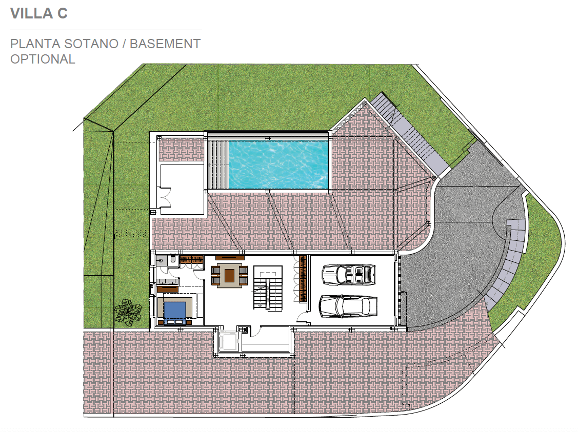 light blue villa kopen costa del sol marbella estepona nieuwbouw modern grondplan villa C kelder optioneel