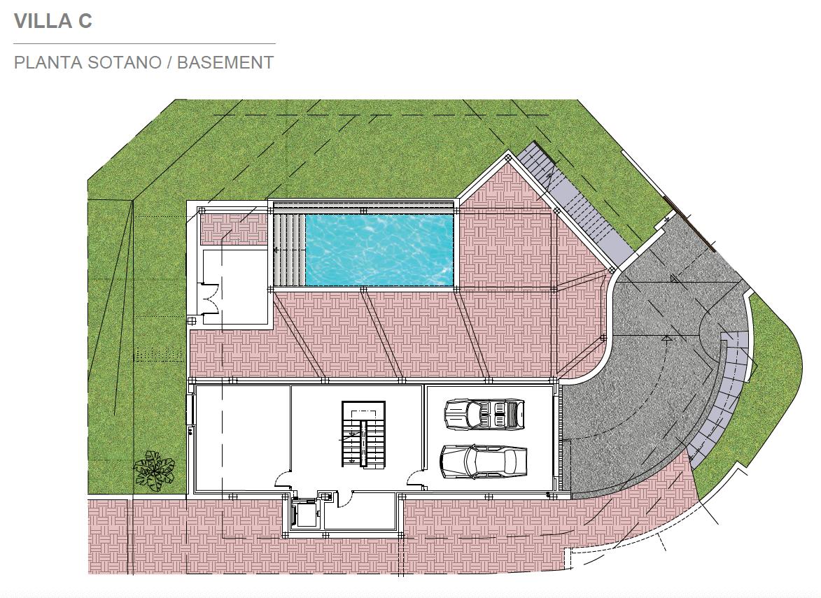 light blue villa kopen costa del sol marbella estepona nieuwbouw modern grondplan villa C kelder