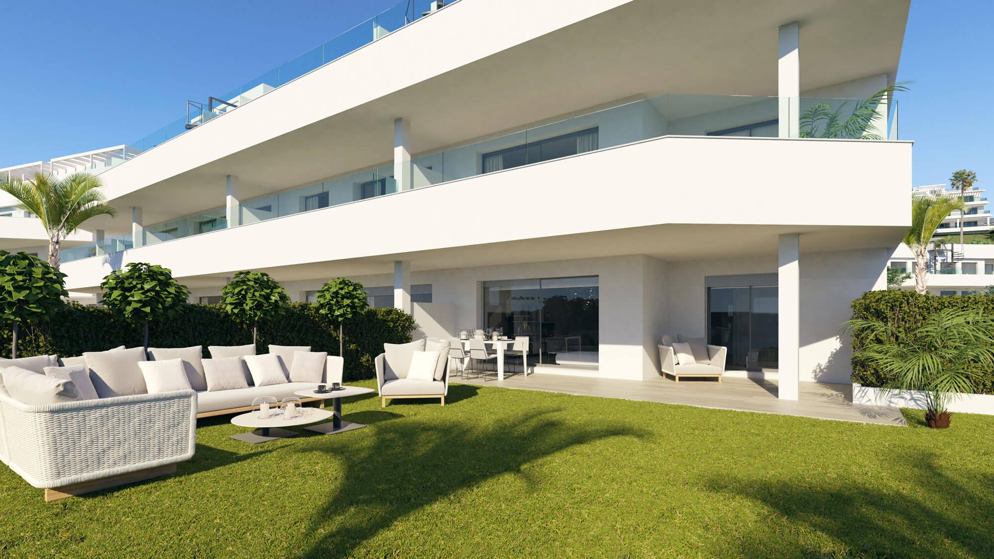 oceana gardens new golden mile estepona cancelada nieuwbouw appartement te koop wandelafstand zeezicht golf goedkoop tuin