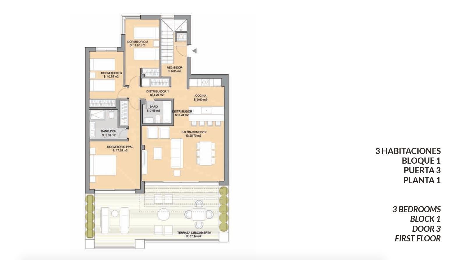 artola homes cabopino costa del sol eerstelijns golf appartement penthouse te koop nieuwbouw zee grondplan drie bed