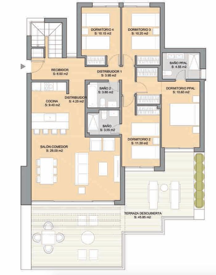 artola homes cabopino costa del sol eerstelijns golf appartement penthouse te koop nieuwbouw zee grondplan vier bed