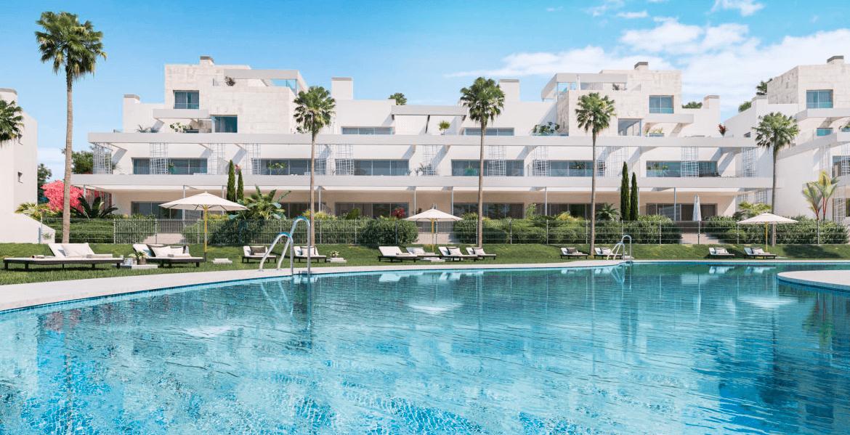 palm village new golden mile cancelada estepona marbella appartement penthouse te koop nieuwbouw wandelafstand zee strand gemeenschappelijk zwembad